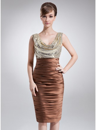 Sheath/Column Cowl Neck Knee-Length Charmeuse Sequined Mother of the Bride Dress With Ruffle
