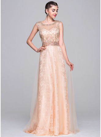 A-Line/Princess Scoop Neck Sweep Train Tulle Prom Dress With Beading Sequins