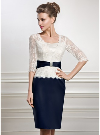 Knee-Length Satin Lace Mother of the Bride Dress With Beading