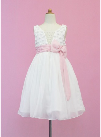 A-Line/Princess Scoop Neck Tea-Length Chiffon Flower Girl Dress With Sash Beading Bow(s)