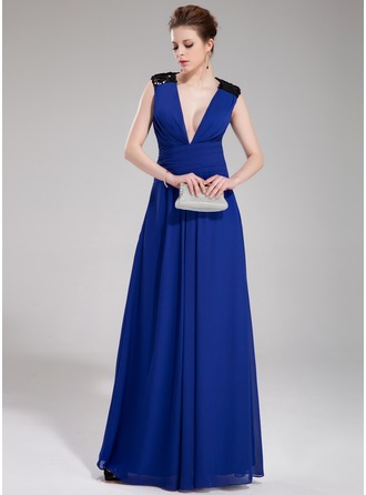A-Line/Princess V-neck Floor-Length Chiffon Sequined Evening Dress With Ruffle
