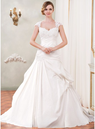 Ball-Gown Sweetheart Chapel Train Taffeta Tulle Wedding Dress With Ruffle Lace Beading Sequins