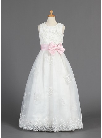 A-Line/Princess Scoop Neck Floor-Length Organza Flower Girl Dress With Lace Sash Beading Bow(s)