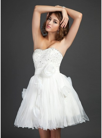 A-Line/Princess Sweetheart Short/Mini Organza Satin Homecoming Dress With Ruffle Lace Beading Sequins
