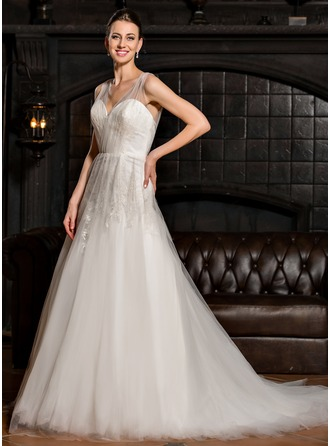 Ball-Gown V-neck Court Train Tulle Wedding Dress With Ruffle