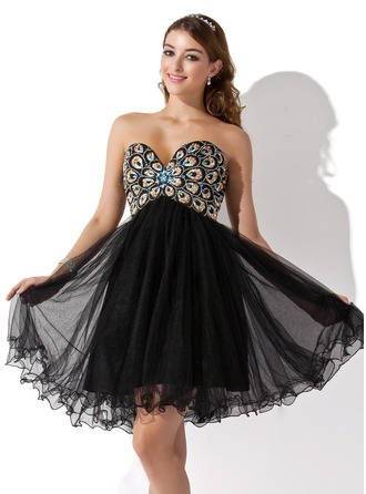Empire Sweetheart Short/Mini Tulle Homecoming Dress With Beading