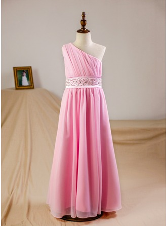 Empire Floor-length Flower Girl Dress - Chiffon Sleeveless One-Shoulder