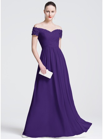 A-Line/Princess Off-the-Shoulder Floor-Length Chiffon Evening Dress With Beading Appliques Lace Sequins