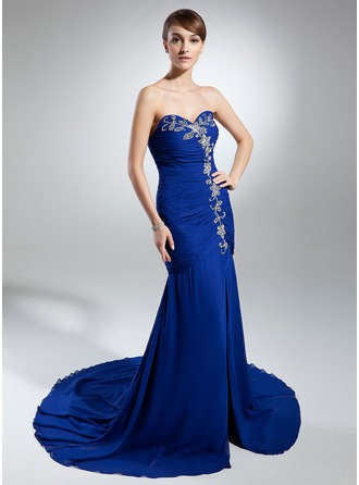 Trumpet/Mermaid Sweetheart Chapel Train Chiffon Evening Dress With Ruffle Beading Split Front
