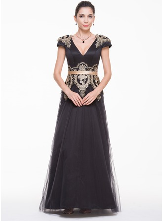 A-Line/Princess V-neck Floor-Length Satin Tulle Charmeuse Evening Dress With Appliques Lace