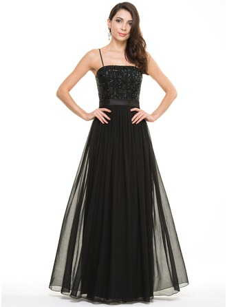 A-Line/Princess Floor-Length Chiffon Satin Sequined Evening Dress
