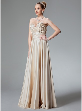 A-Line/Princess Sweetheart Floor-Length Charmeuse Evening Dress With Ruffle Beading