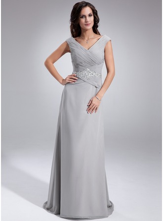 A-Line/Princess Off-the-Shoulder Sweep Train Chiffon Mother of the Bride Dress With Ruffle Beading Sequins