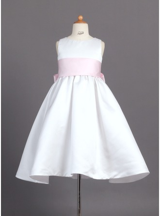 A-Line/Princess Scoop Neck Ankle-Length Satin Flower Girl Dress With Sash Bow(s)