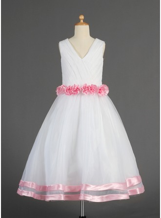 A-Line/Princess V-neck Tea-Length Organza Satin Flower Girl Dress With Sash Flower(s)