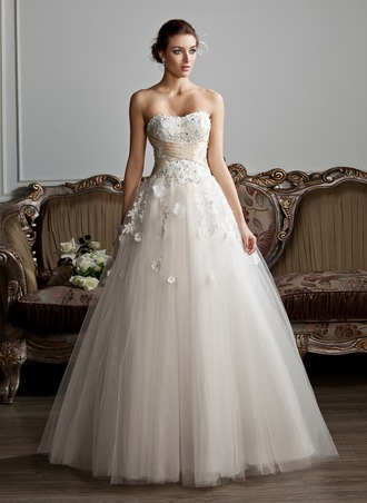 Ball-Gown Sweetheart Floor-Length Tulle Charmeuse Wedding Dress With Ruffle Sash Beading Appliques Flower(s)