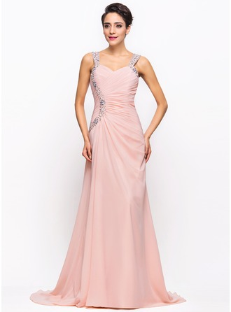 A-Line/Princess Sweetheart Sweep Train Chiffon Evening Dress With Ruffle Beading Sequins