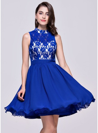 A-Line/Princess High Neck Short/Mini Chiffon Lace Homecoming Dress