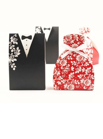 Tuxedo & Gown Favor Boxes With Bow (Set of 12)