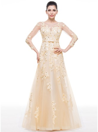Trumpet/Mermaid Scoop Neck Floor-Length Tulle Evening Dress With Lace Beading Sequins Bow(s)