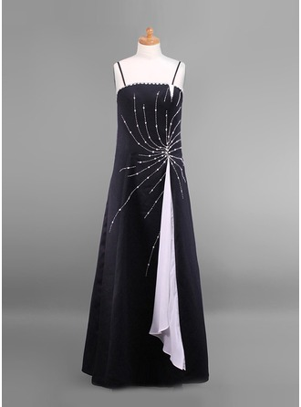 A-Line/Princess Floor-Length Satin Junior Bridesmaid Dress With Beading Sequins
