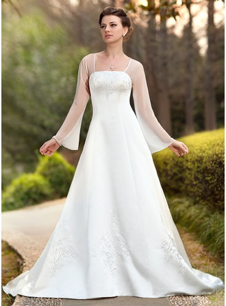A-Line/Princess Square Neckline Chapel Train Chiffon Satin Wedding Dress With Embroidered