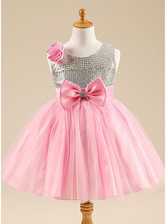 A-Line/Princess Knee-length Flower Girl Dress - Cotton Blends Sleeveless Scoop Neck With Flower(s)/Sequins/Bow(s)