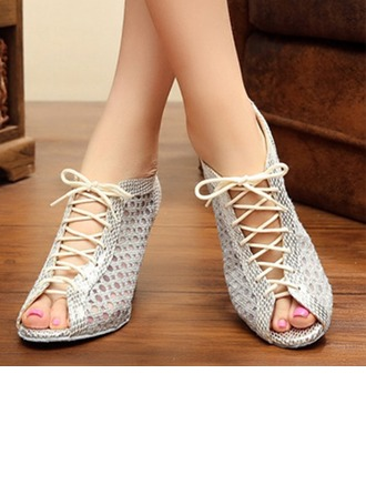 Women's Lace Flats Sneakers Latin Jazz Practice Party Tango With Hollow-out Lace-up Dance Shoes