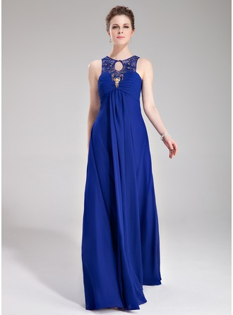 Empire Scoop Neck Floor-Length Chiffon Tulle Evening Dress With Ruffle Lace Beading
