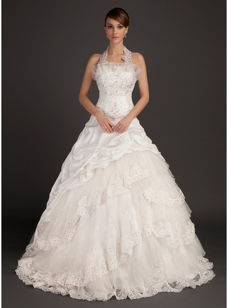 Ball-Gown Halter Chapel Train Taffeta Organza Wedding Dress With Lace Beading