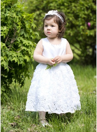 A-Line/Princess Scoop Neck Ankle-Length Satin Flower Girl Dress With Beading Flower(s) Bow(s)