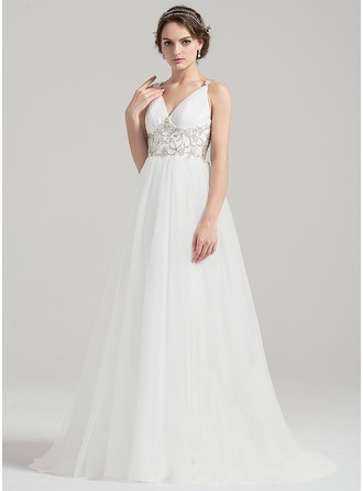 A-Line/Princess V-neck Sweep Train Tulle Wedding Dress With Ruffle Beading Appliques Lace Sequins