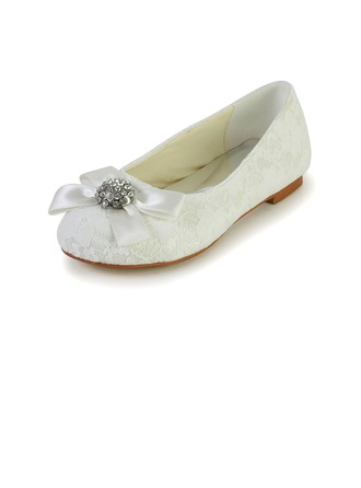 Kids' Lace Satin Flat Heel Closed Toe Flats With Bowknot Rhinestone