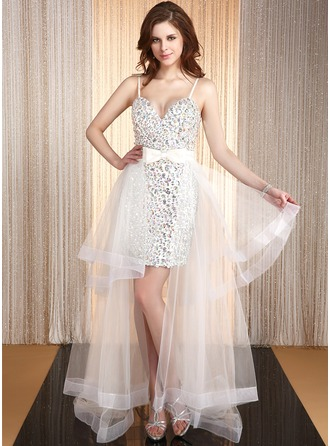A-Line/Princess Sweetheart Asymmetrical Organza Satin Prom Dress With Beading