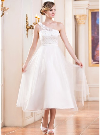 A-Line/Princess One-Shoulder Tea-Length Satin Tulle Wedding Dress With Ruffle Beading Flower(s) Sequins