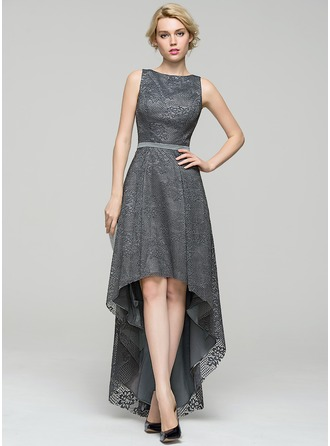 A-Line/Princess Scoop Neck Asymmetrical Lace Evening Dress