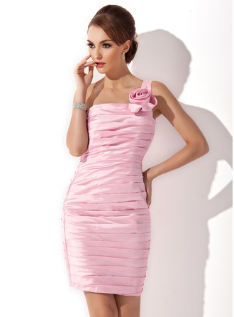 Sheath/Column One-Shoulder Knee-Length Taffeta Cocktail Dress With Ruffle Flower(s)
