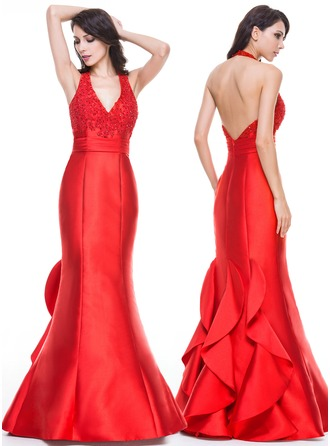 Trumpet/Mermaid Halter Floor-Length Satin Lace Evening Dress With Ruffle Beading Appliques Lace Sequins