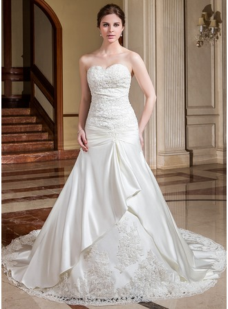 A-Line/Princess Sweetheart Cathedral Train Satin Wedding Dress With Ruffle Lace Beading Flower(s)
