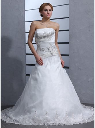 A-Line/Princess Strapless Chapel Train Organza Satin Wedding Dress With Ruffle Beading Appliques Lace