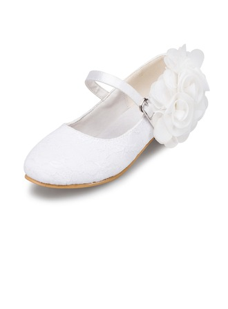 Kids' Lace Low Heel Closed Toe Pumps With Flower