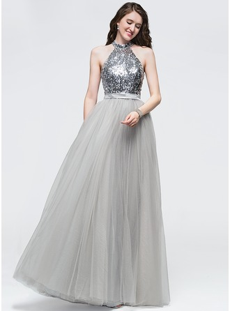A-Line/Princess Scoop Neck Floor-Length Tulle Prom Dress