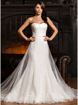 Empire Sweetheart Sweep Train Tulle Lace Wedding Dress