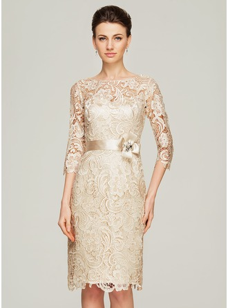 Sheath/Column Scoop Neck Knee-Length Charmeuse Lace Mother of the Bride Dress With Beading Flower(s)