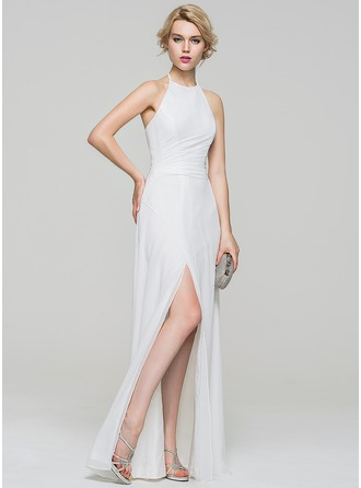A-Line/Princess Halter Floor-Length Chiffon Evening Dress With Ruffle Split Front