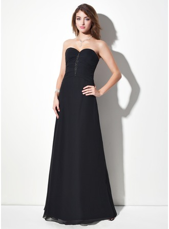 Sheath/Column Sweetheart Floor-Length Chiffon Evening Dress With Ruffle Beading