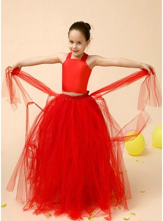 A-Line/Princess Square Neckline Floor-Length Charmeuse Tulle Flower Girl Dress With Bow(s)