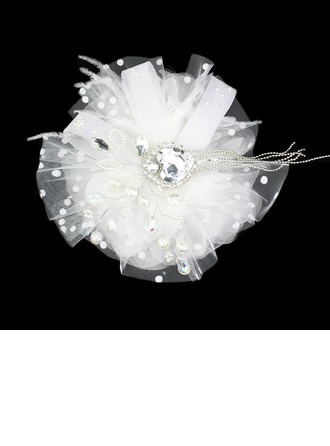 Gorgeous Feather With Rhinestones/ Tulle Wedding Bridal Headpiece