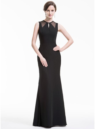 Trumpet/Mermaid Scoop Neck Floor-Length Chiffon Evening Dress