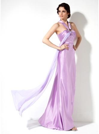 Sheath/Column Halter Floor-Length Chiffon Charmeuse Holiday Dress With Ruffle Beading